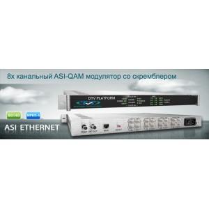 ASI-QAM модулятор со скремблером 8x ASI входами и 8xDVB-C выходами DMS808AC