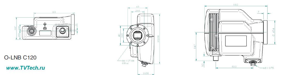 Оптический конвертер под фланец С120 размеры