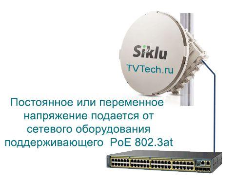 Схема подключения РРЛ оборудования Siklu серии EH1200FX с питанием через инжектор PoE встроенный в сетевое оборудование