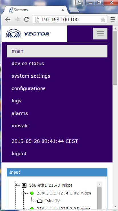 Пример WEB страницы управления станцией ROTON F на мобильном устройстве