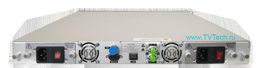 Вид сзади оптического передатчика внешней модуляции 1x10 дБм