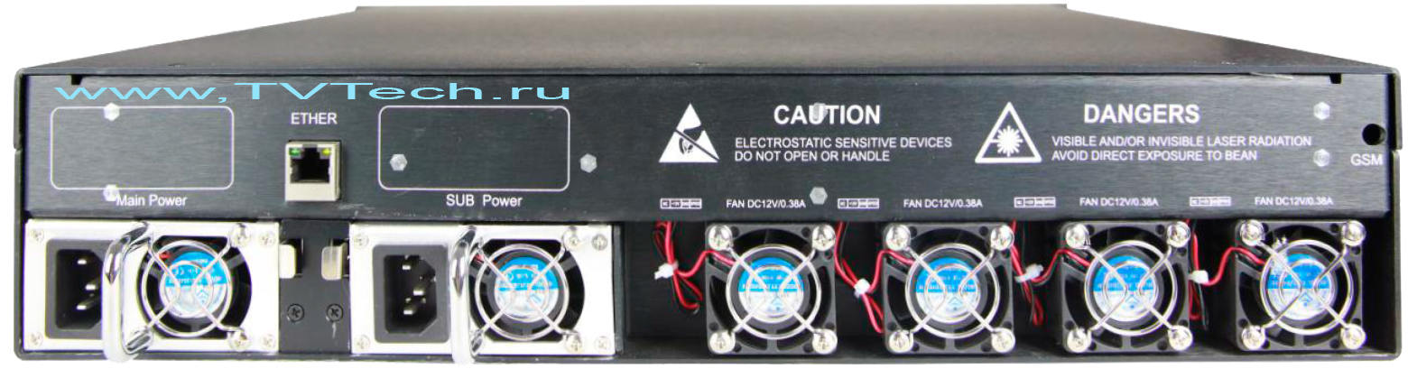 Вид сзади EDFA 64x17 дБм оптический усилитель OA1550