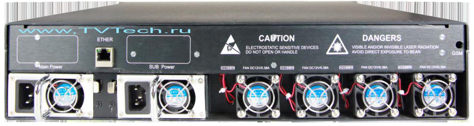 Вид сзади EDFA 64x22 дБм оптический усилитель OA1550